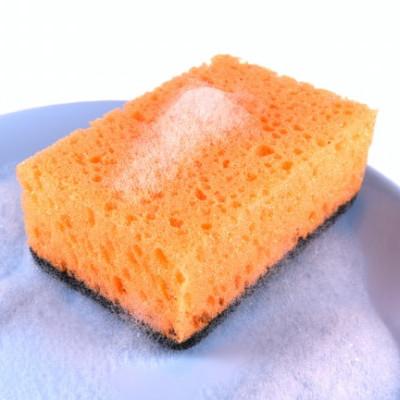 sponge with dish soap